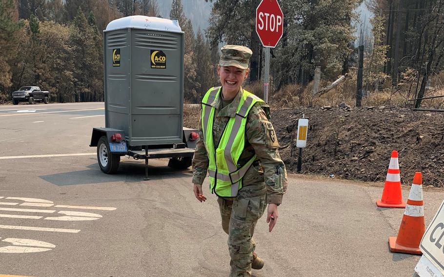Pfc. Secily Chapman, 22, was inspired to enlist in the California National Guard after her family lost their home in Paradise, Calif., to a wildfire in 2018. This month, she deployed on her first Guard mission to Greenville, where the majority of the town was leveled by the Dixie Fire.