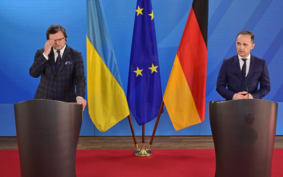German Foreign Minister Heiko Maas, right, speaks during a joint press conference with Ukraine's Foreign Minister Dmytro Kuleba, in Berlin, Germany, on Wednesday June 9, 2021.
