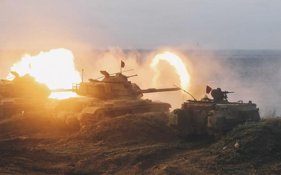 Taiwanese armored units conduct a live-fire drill to deter a coastal landing force during the Han Guang exercise held on the island of Penghu county, Taiwan, Wednesday, Sept. 15, 2021.