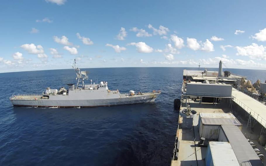 In this photo released Thursday, June 10, 2021, Iranian warships are seen in the Atlantic Ocean.