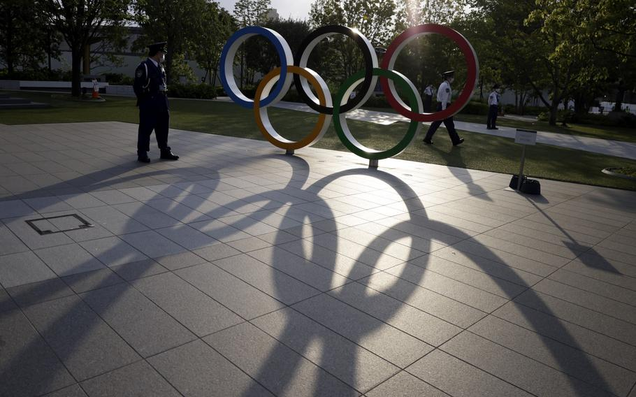 The Olympic rings outside the Japan Olympic Museum in Tokyo on May 9, 2021.