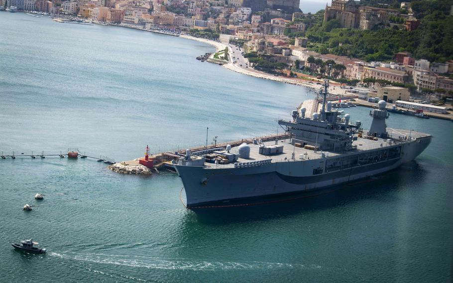 The command and control ship USS Mount Whitney sits in port in Gaeta, Italy, May 15, 2020. The ship will participate in Large Scale Exercise 2021, a global effort reminiscent of Cold War-era exercises.