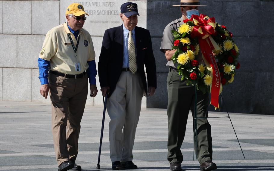 World War II veteran Callan Francis Saffell takes part in a Memorial Day wreath-laying ceremony at the National World War II Memorial in Washington, D.C., May 31, 2021.