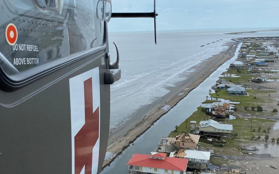 The crew of a UH-72 Lakota helicopter assigned to the Louisiana National Guard's 2nd Batalltion, 151st Aviation Regiment fly throughout southeast Louisiana near Grand Isle to look for people in need of rescue following Hurricane Ida, which made landfall Aug. 29. They rescued two people stranded near Lafitte.