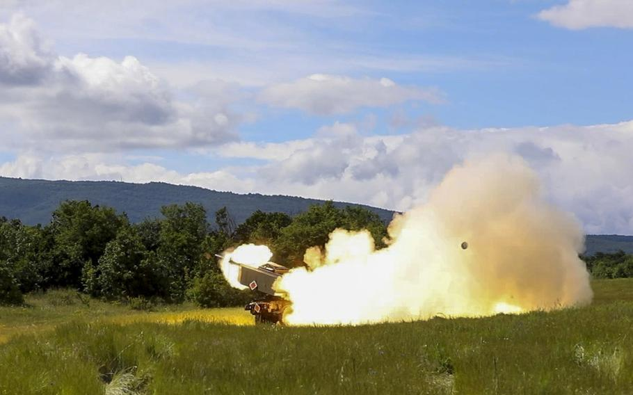 U.S. soldiers assigned to Alpha Battery, 1st Battalion, 77th Field Artillery Regiment, 41st Field Artillery Brigade, fire a rocket during an exercise at Novo Selo, Bulgaria, June 1, 2021.