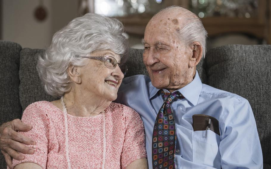 Thomas and Dee House sit together at their home in Las Cruces, N.M., on Aug. 26, 2021. A chance meeting on July 18, 1946 and three weeks together — that was the beginning of Thomas and Dee House's 75-year marriage.