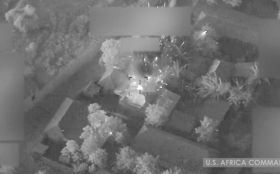 A photo from a U.S. airstrike in Somalia in January 2021. The U.S. carried out another airstrike there July 20, 2021, the first since President Joe Biden took office.