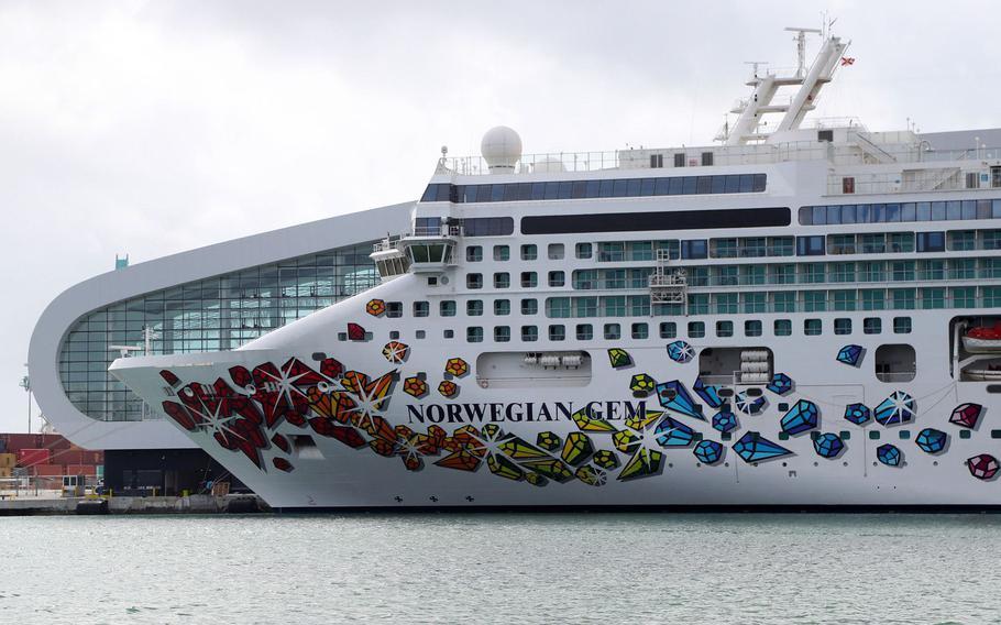 Norwegian Cruise Line's Norwegian Gem sits at the Port of Miami.