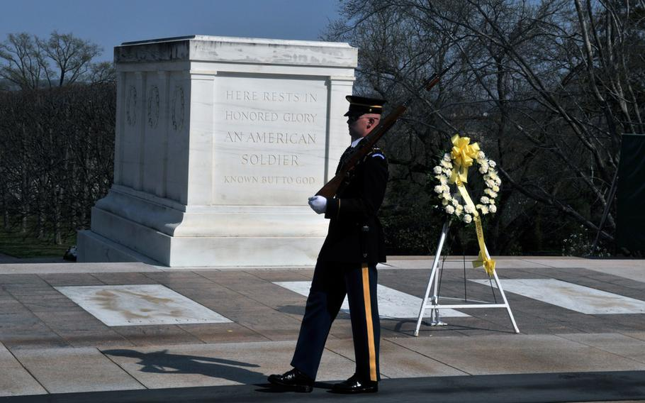 """The tomb is traditionally guarded day and night by the """"sentinels"""" of the 3rd Infantry Regiment, which is also known as """"The Old Guard."""" Those soldiers are known for conducting the solemn changing of the guard ceremony, which attracts thousands of cemetery visitors each year."""