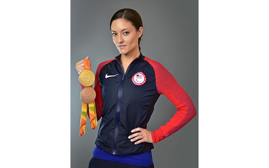 Sgt. 1st Class Elizabeth Marks won a gold medal in the 100-meter breaststroke and set a world record for the race at the 2016 Paralympic Games in Rio de Janeiro. She also won a bronze medal in the 4x100 medley.