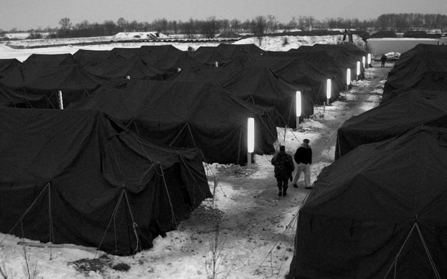 Taszar Air Base, Hungary, Jan.uary, 1996: Taszar's tent city is the staging area for nearly all the 20,000 troops deploying to and returning from Bosnia.