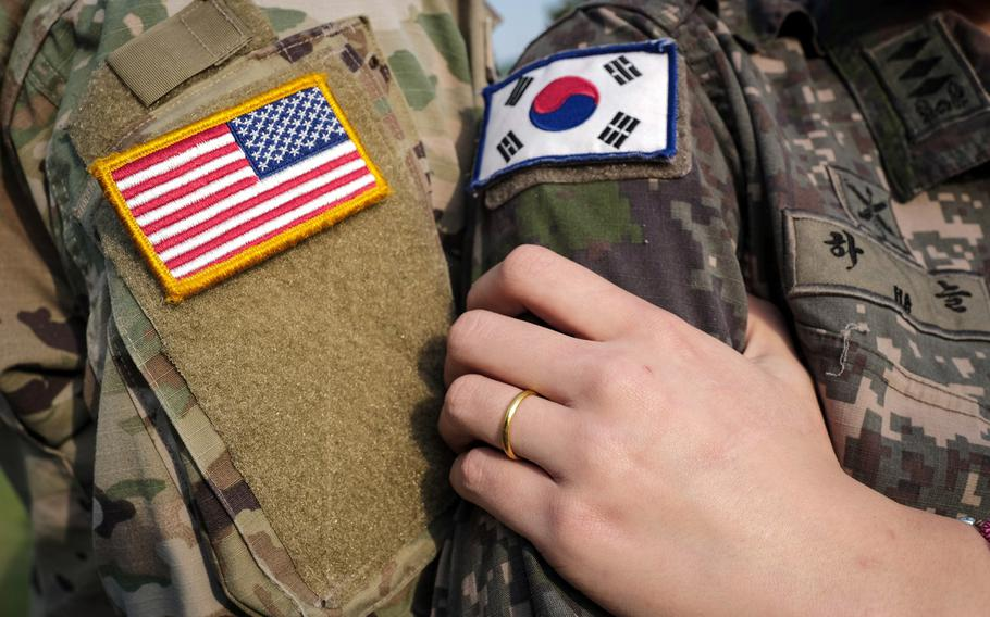 U.S. Army Capt. Miles Gabrielson and South Korean army Capt. Ha Neul, both assigned to Camp Casey north of Seoul, married on Feb. 20, 2021. The union is the first between active-duty officers in the U.S. and Korean armies, according to the 2nd Infantry Division.
