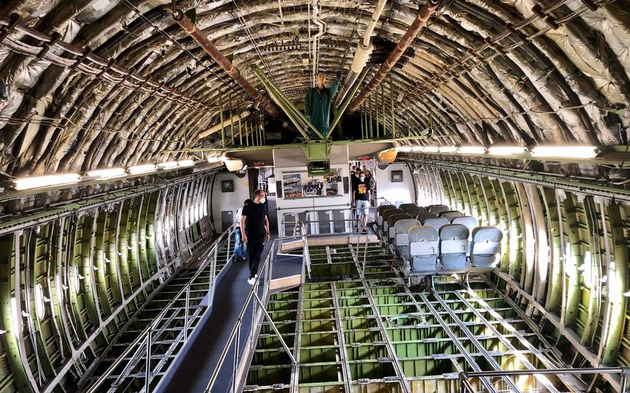 The stripped-down interior of a Lufthansa Boeing 747 at the  Technik Museum Speyer in Germany. The museum offers some unique views of airliners, warplanes, submarines and even a Russian Burnan space shuttle.