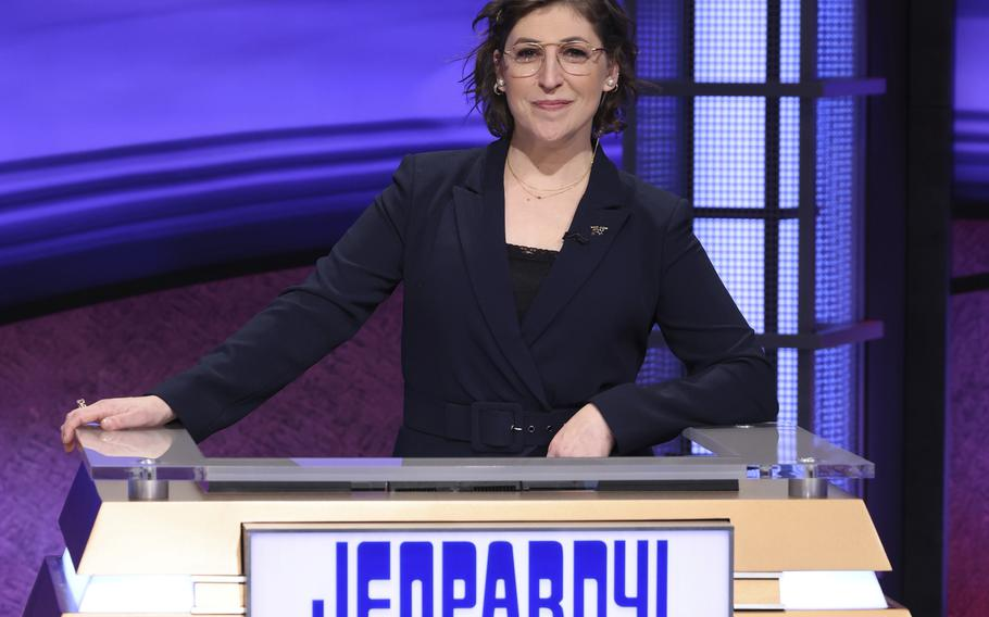 """In this image provided by Jeopardy Productions, Inc., guest host Mayim Bialik appears on the set of """"Jeopardy!"""""""