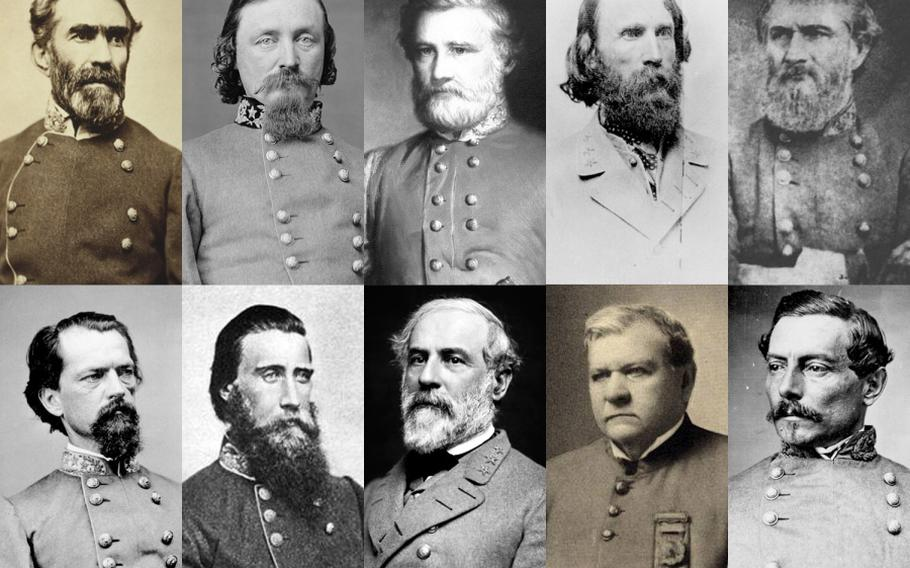 There are 10 U.S. Army posts named after men who were Confederate generals during the Civil War. Top row, from left: Braxton Bragg, George Edward Pickett, Henry Benning, A.P. Hill and Leonidas Polk. Bottom row, from left: John Brown Gordon, John Bell Hood, Robert E. Lee, Edmund Rucker and Pierre Gustave Toutant Beauregard.