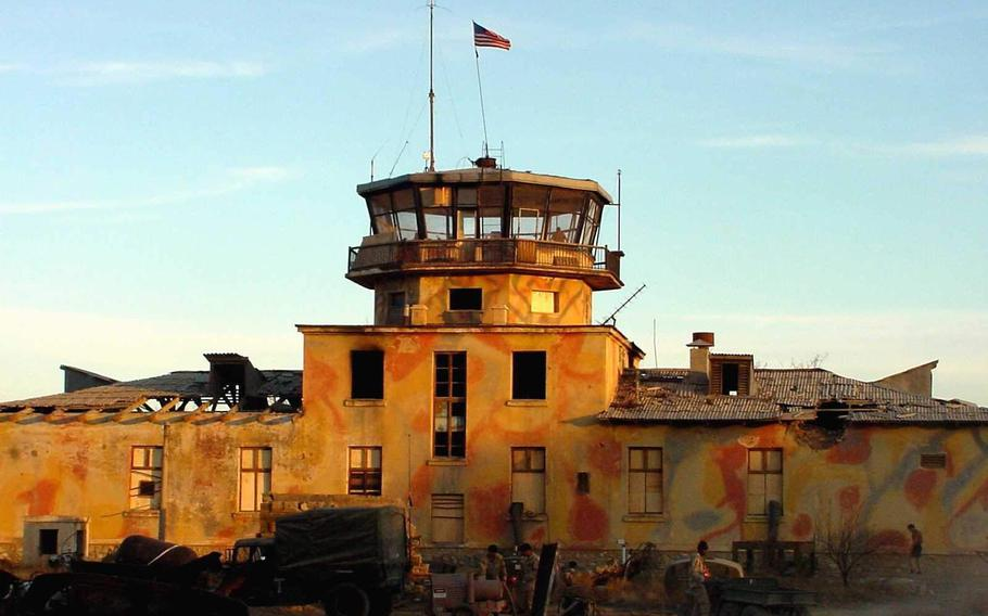 The old Russian control tower as it appeared when the first U.S. forces arrived on Bagram Airfield in December 2001.