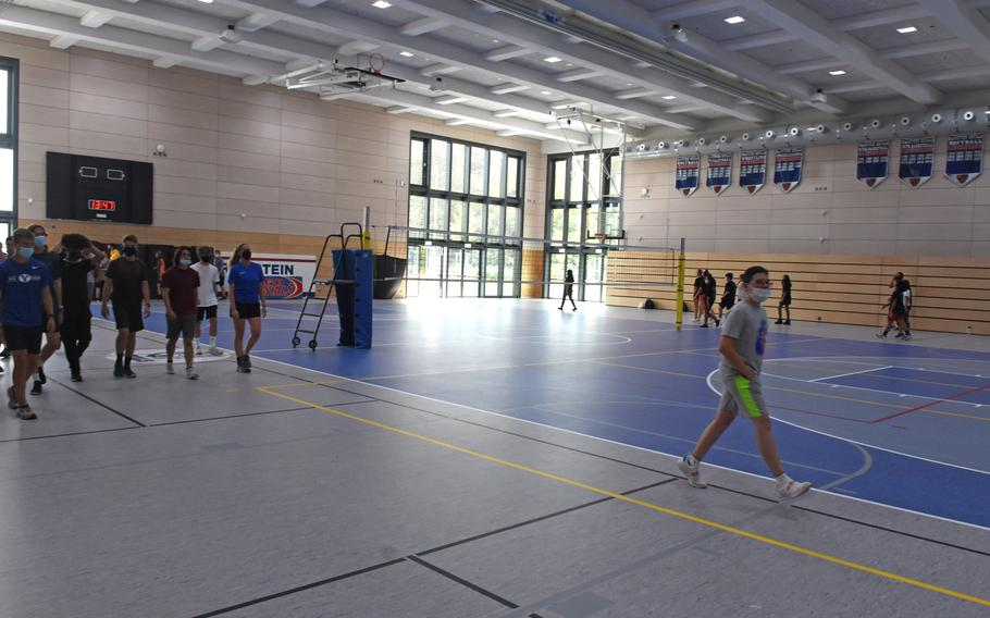 Students exercise in the gymnasium, the largest in the Defense Department school system, at the new Ramstein High School on Sept. 14, 2021.