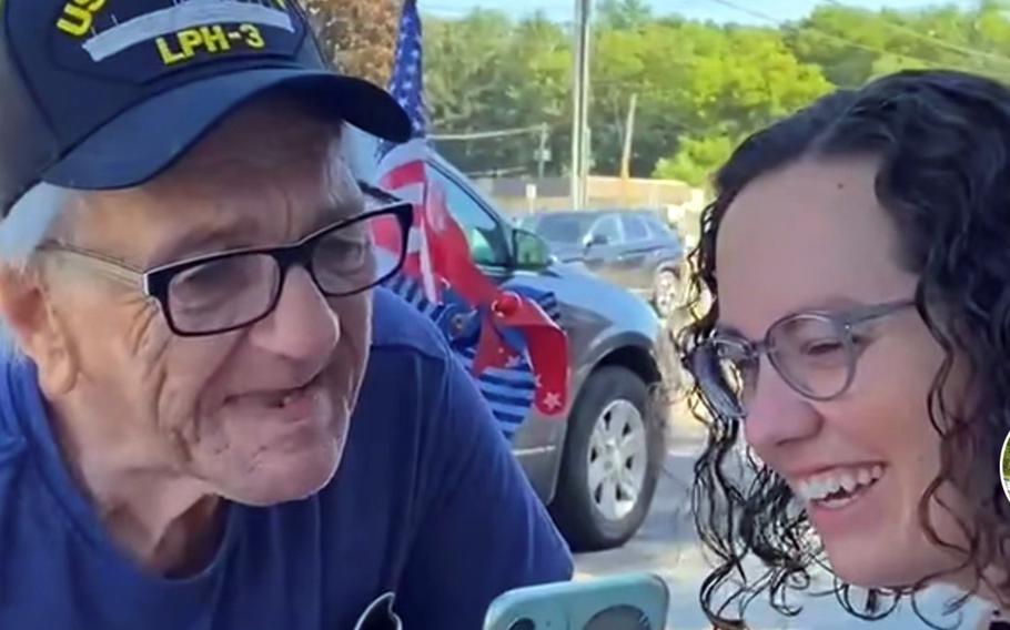 Navy veteran Kenny Jary, 79, and neighbor Amanda Kline read comments posted to @PatrioticKenny, a TikTok account she runs for him.