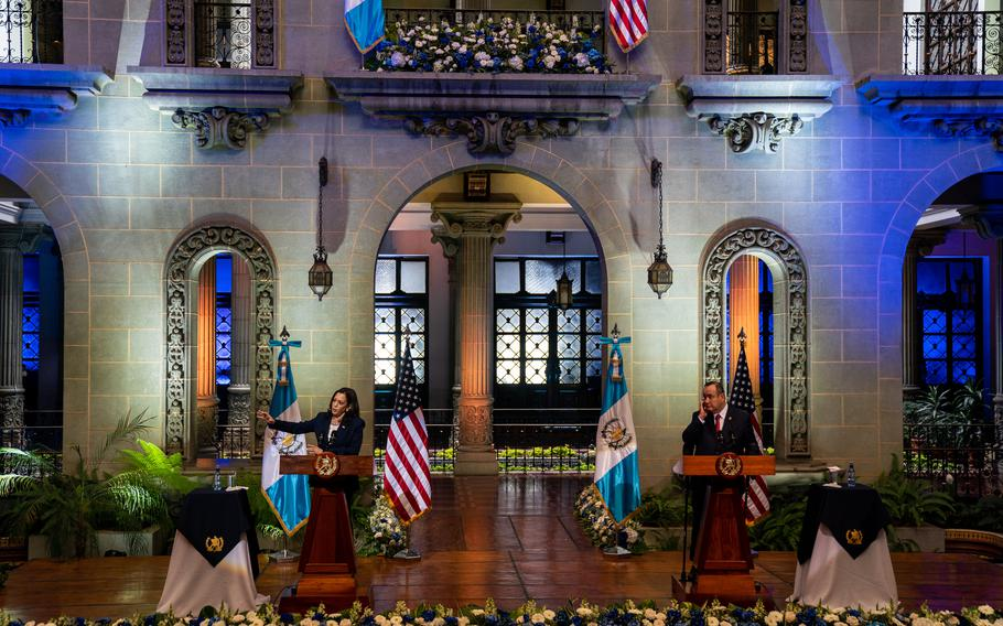 Vice President Kamala Harris and Guatemala's President Alejandro Giammattei at the Palacio Nacional de la Cultura  on June 7, 2021.