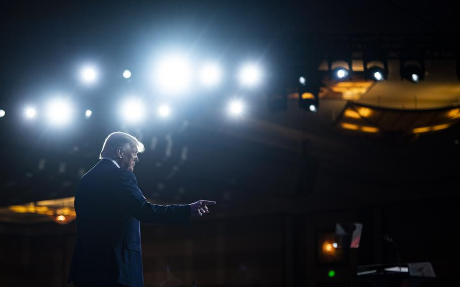 Former president Donald Trump walks out to speak to a crowd on the final day of the Conservative Political Action Conference on Feb. 28, 2021, in Orlando, Florida.