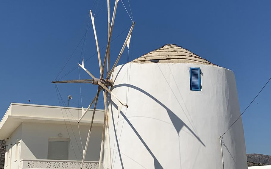 Windmills have become iconic in Paros and many other Greek Islands. This one acts as a round-about between villages.