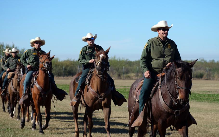 U.S. Border Patrol agents train on horseback in Eagle Pass, Texas, Nov. 16, 2018.