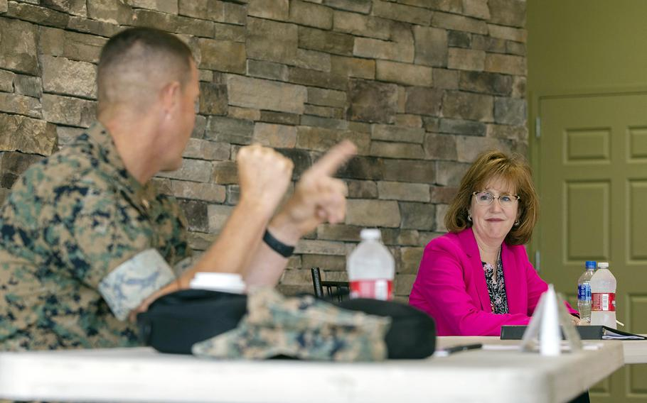 Catherine Kessmeier, acting assistant secretary of the Navy for manpower and reserve affairs, attends an event at Camp Pendleton, Calif., July 28, 2020.