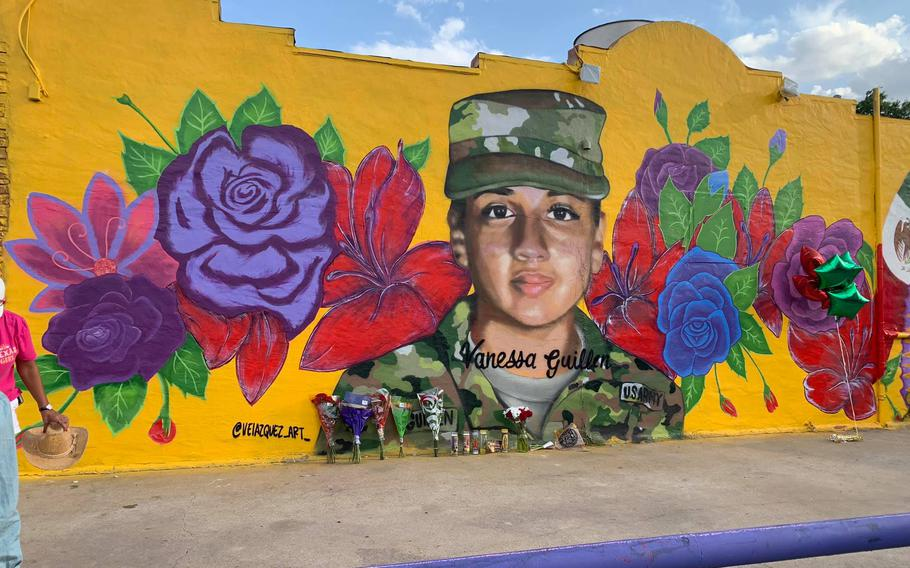 A mural of Vanessa Guillén painted by Fort Worth artist and Army Reserve member Juan Velázquez.