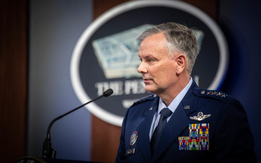Air Force Gen. Glen VanHerck, commander of U.S. Northern Command and North American Aerospace Defense Command, speaks to reporters during a news briefing from the Pentagon, Washington, D.C., on March 16, 2021.