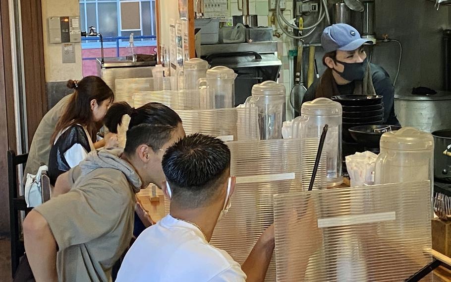 Hayate Maru is a Hokkaido-style ramen restaurant in Okinawa's American Village. There are just three employees: two cooks and one waiter.