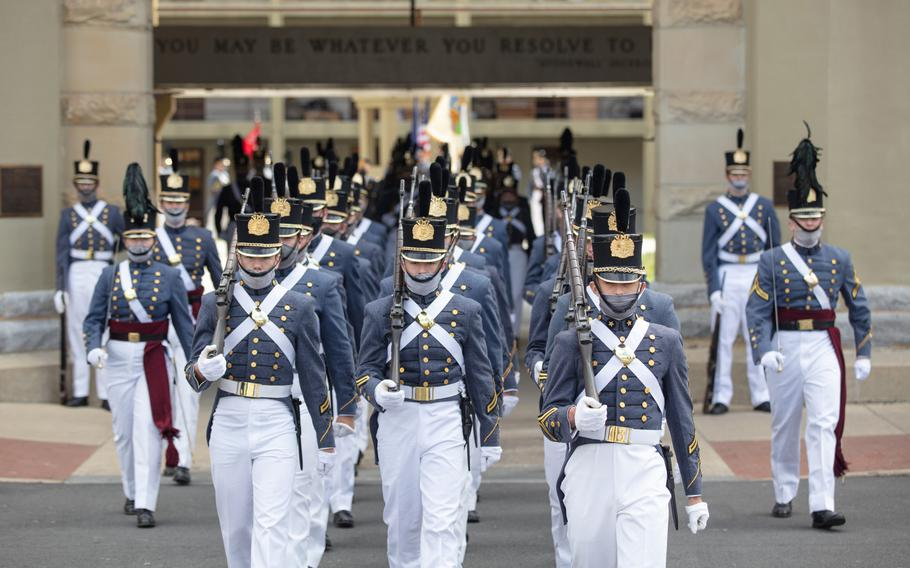 The Corp of Cadets march out of the barracks in May for a change-of-command ceremony at Virginia Military Institute in Lexington.
