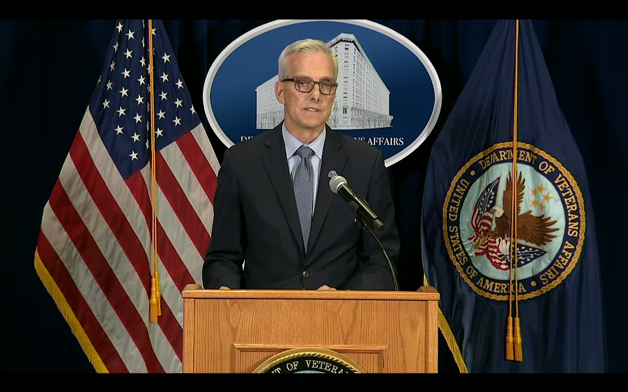 Department of Veterans Affairs Secretary Denis McDonough holds a news conference Wednesday, Sept 15., 2021, at VA headquarters in downtown Washington, D.C.