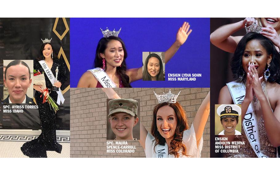 Clockwise from left: Spc. Ayriss Torres, 21, a civil affairs specialist in the Army Reserve, will compete in the Miss America pageant as Miss Idaho. Ensign Lydia Sohn, 25, will compete as Miss Maryland. She is in a Reserve status as she prepares to enter Des Moines University College of Osteopathic Medicine in 2022. Navy Ensign Andolyn Medina, 25, will compete as Miss District of Columbia. She is currently in a Reserve status to attend George Washington University as a full-time doctoral candidate in clinical psychology. Spc. Maura Spence-Carroll, 21, an intelligence analyst in the 4th Infantry Division at Fort Carson, Colo., will compete as Miss Colorado.
