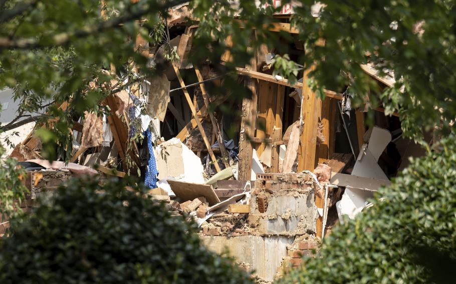 Damage to an apartment building is seen following an explosion Sunday, Sept. 12, 2021, in Dunwoody, Ga., just outside of Atlanta.