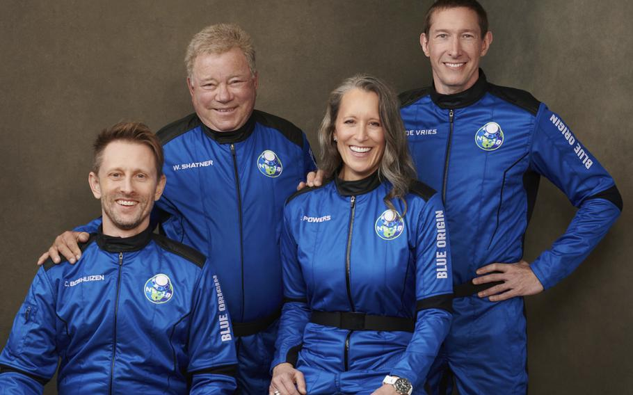 This undated photo made available by Blue Origin in October 2021 shows, from left, Chris Boshuizen, William Shatner, Audrey Powers and Glen de Vries. Their launch scheduled for Wednesday, Oct. 13, 2021 will be Blue Origin's second passenger flight, using the same capsule and rocket that Jeff Bezos used for his own trip three months earlier.