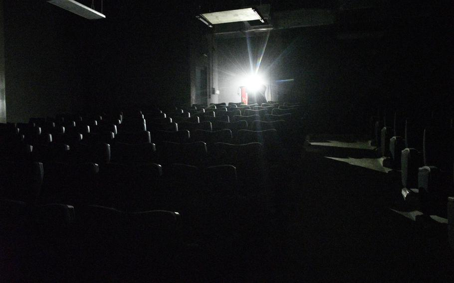 A theater where soldiers once watched movies sits empty and dark at Bagram Airfield, Afghanistan, July 7, 2021. U.S. troops left the base July 2.