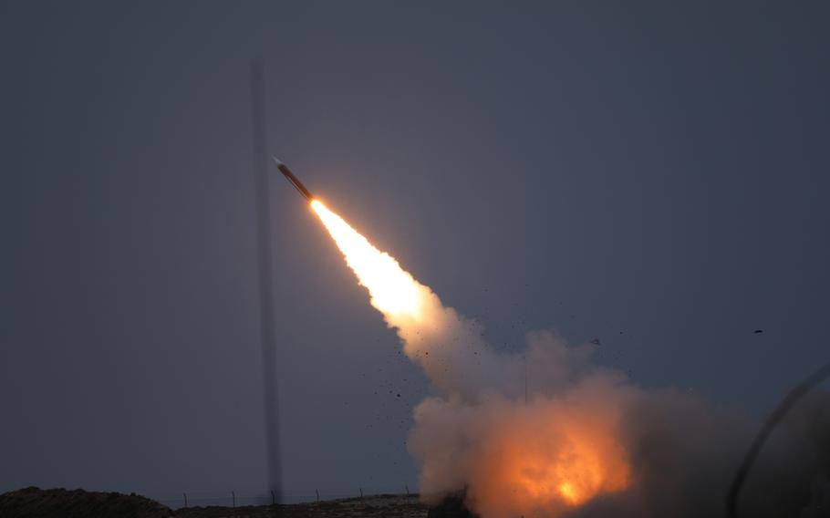 A Patriot missile is fired during an exercise on the Greek island of Crete, Nov. 23, 2020.