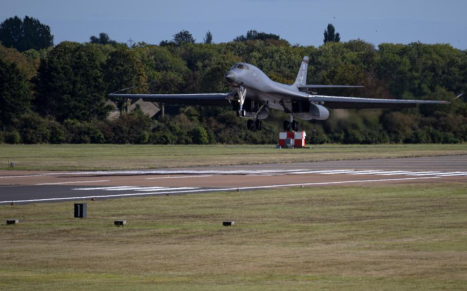 A B-1B Lancer assigned to the 9th Expeditionary Bomb Squadron lands at RAF Fairford, England, Oct. 6, 2021. The B-1, is a multi-role, strategic bomber and carries the largest payload of both guided and unguided conventional weapons in the U.S. Air Force's inventory.
