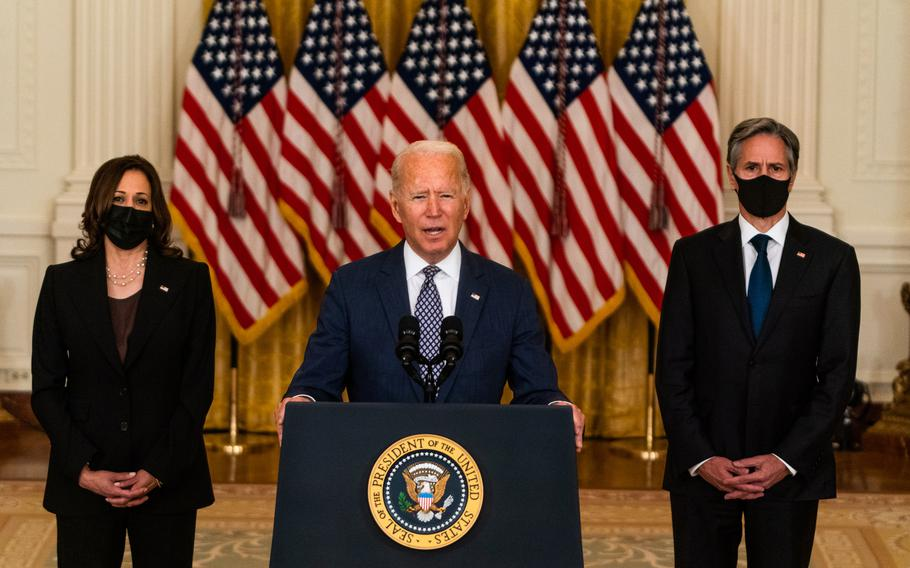 President Biden delivers remarks regarding evacuation of Afghanistan in the East Room at the White House on Aug. 20, 2021, with Vice President Harris, left, and Secretary of State Antony Blinken.