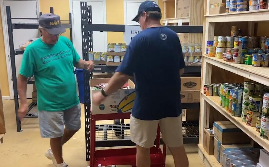 Veterans work at the Socastee Pantry in Socastee, S.C. The pantry is run entirely by veterans and their spouses.