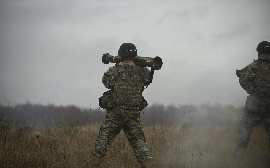 Infantrymen fire anti-tank shoulder mounted missle launchers at a live fire range in Grafenwoehr Training Area, Germany, on Dec. 9, 2013. The U.S. Defense Department announced on Friday, June 11, 2021, that Ukraine was awarded a new $150 million security aid package.