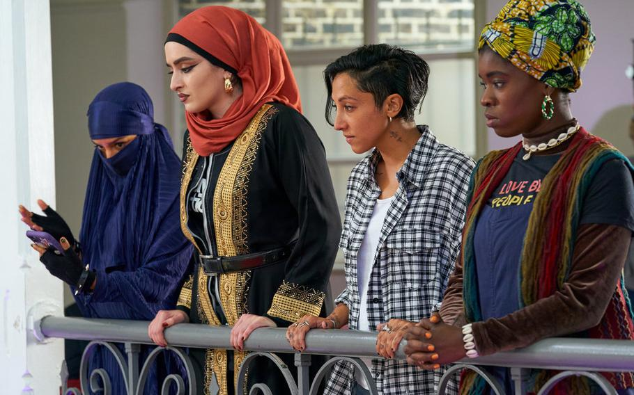 """Pictured (l-r): Lucie Shorthouse as Momtaz, Juliette Motamed as Ayesha, Sarah Kameela Impey as Saira, Faith Omole as Bisma of """"We Are Lady Parts."""""""