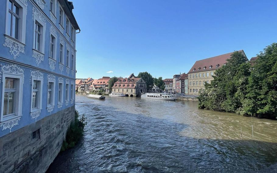The Regnitz River runs through Bamberg, Germany in Upper Franconia on June 21, 2021.