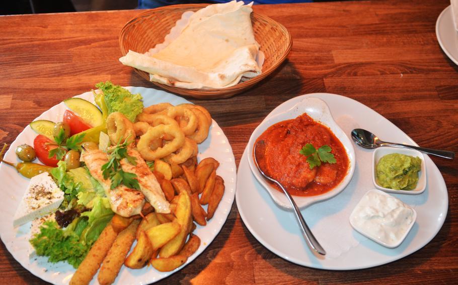 The Plato La Habana appetizer platter at Havana Restaurant in Wiesbaden, Germany, includes shrimp, calamari, chicken skewers, potato wedges, mozzarella sticks and more.