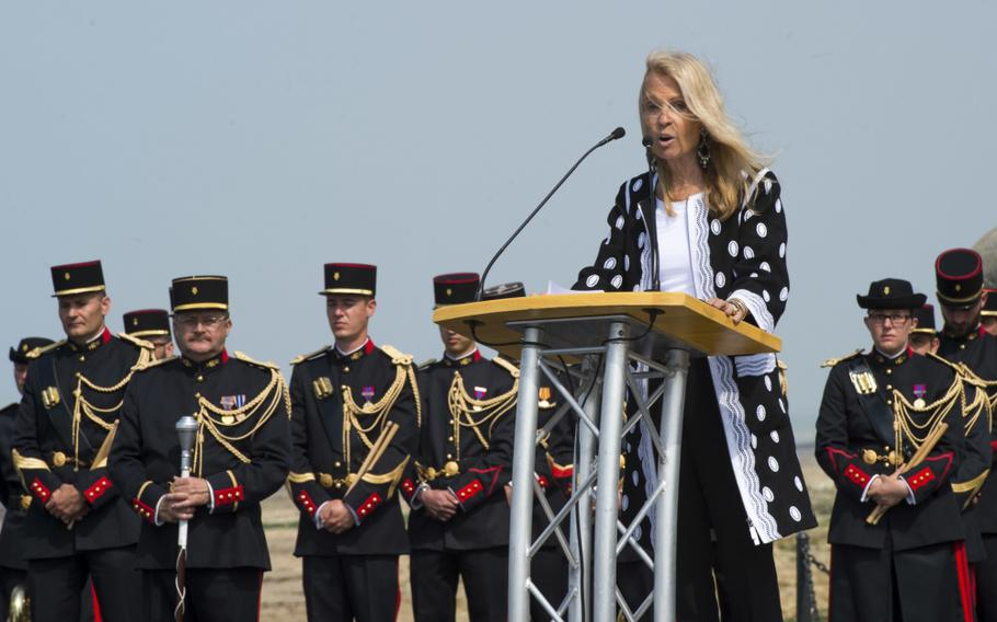 Jane Hartley, United States Ambassador to France and Monaco, speaks during the 47th Royal Marine Commando Monument Ceremony honoring the sacrifices of WWII veterans.
