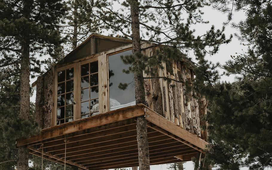 This undated photo provided by Jessica Brookhart shows a treehouse owned by Brookhart in Gold Hill, Colorado. Brookhart bought it recently and occasionally rents it.