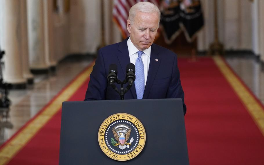 President Joe Biden finishes speaking about the end of the war in Afghanistan from the State Dining Room of the White House, Tuesday, Aug. 31, 2021, in Washington.