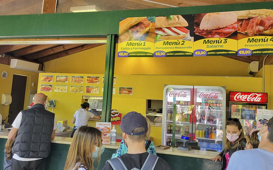 Snack bar Iris inside the Garden Park Sigurta, Italy, where a lunch combo costs around 9 euros. There are five snack bars similar to this one throughout the park.