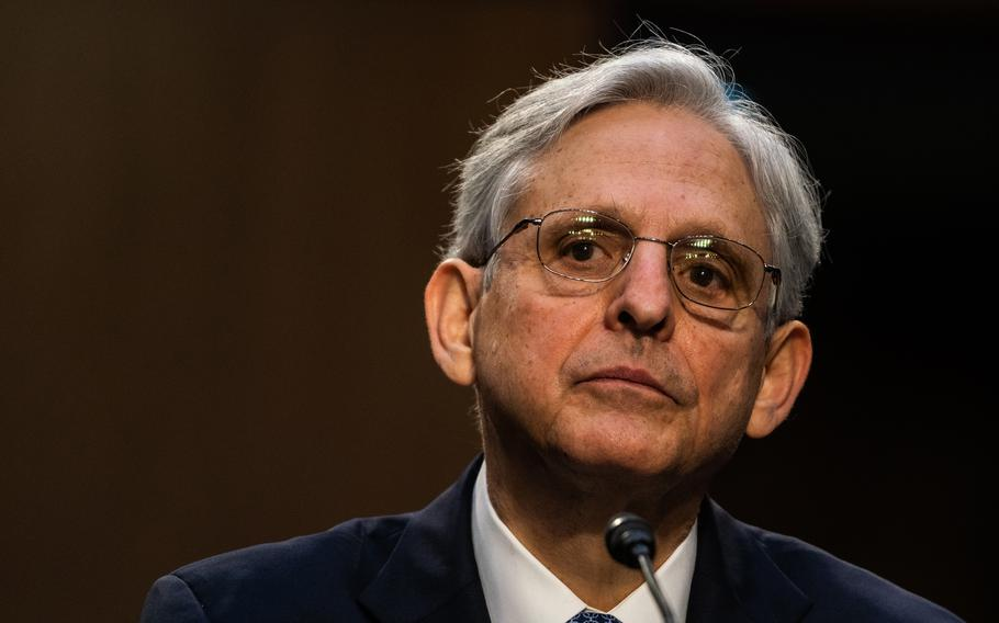 """Judge Merrick Garland, shown during his confirmation hearing on Capitol Hill in Washington on Feb. 22, 2021, says the Justice Department is exploring """"all options"""" to challenge Texas's restrictive abortion law."""