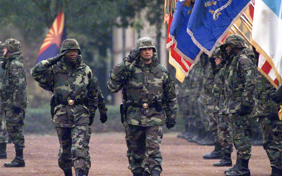 Deputy V Corps commander Maj. Gen. Reginal Clemmons and U.S. Army Europe commander Gen. Montgomery Meigs inspect the troops at a V Corps change of command ceremony in Heidelberg, Germany, in November 1999. Meigs died July 6, 2021. He was 76.